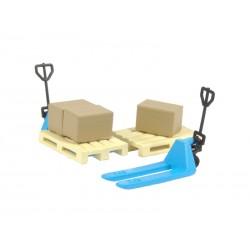Pack de logística con 2 transpalets azules