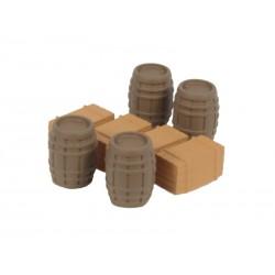 Barricas y cajas de madera