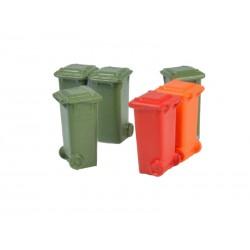 Contenedores de 100L verde, rojo y naranja